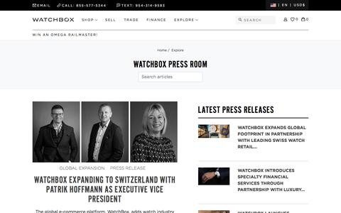 Screenshot of Press Page thewatchbox.com - Sites-watchbox-us-Site - captured July 14, 2019