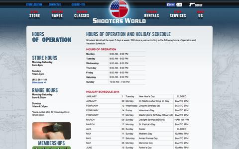 Screenshot of Hours Page shootersworld.com - Hours of Operation - captured Oct. 26, 2014
