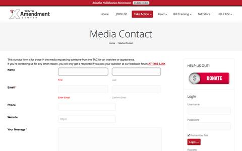 Screenshot of Contact Page tenthamendmentcenter.com - Media Contact | Tenth Amendment Center - captured Sept. 24, 2014