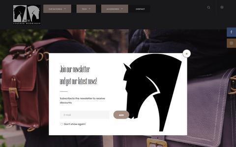 Screenshot of Home Page mmleatherworkshop.com - M&M Leather Workshop - captured July 4, 2018