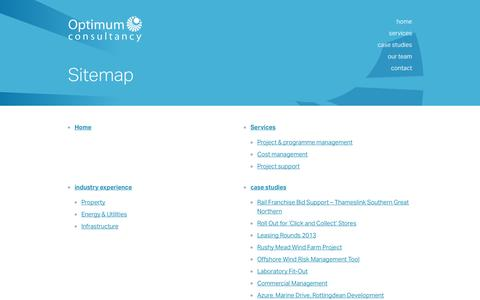 Screenshot of Site Map Page optimum.uk.com - Committed To Delivering Project Success | Optimum Consultancy - captured Nov. 3, 2014