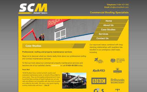 Screenshot of Case Studies Page scmrooftech.com - Commercial & Industrial Roofing Specialists in Bradford & West Yorkshire | SCM Rooftech - captured Sept. 30, 2014