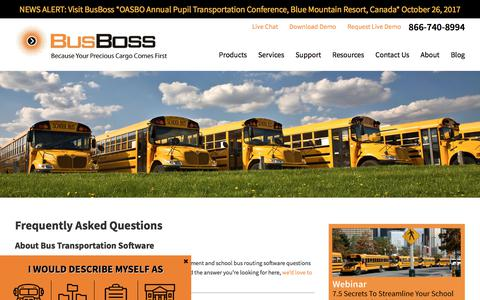 Screenshot of FAQ Page busboss.com - Frequently Asked Questions About Bus Transportation Software - captured Oct. 21, 2017