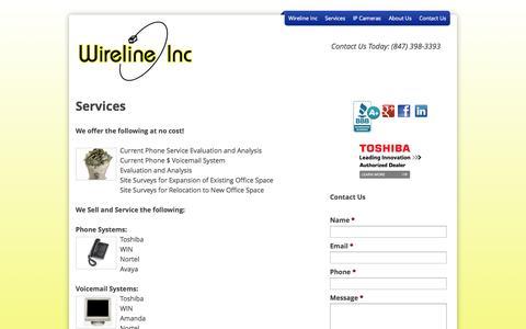 Screenshot of Services Page wirelineinc.com - Services - wirelineinc - captured Oct. 26, 2014