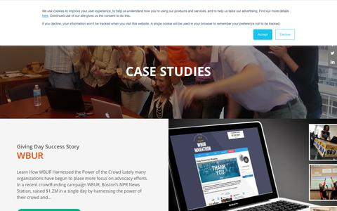 Screenshot of Case Studies Page kimbia.com - Case Studies Archive - Kimbia - captured July 13, 2018