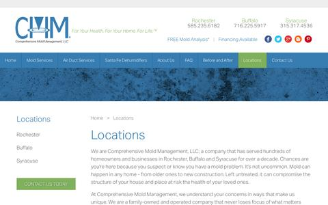 Screenshot of Locations Page compmold.com - Locations | Rochester NY | Buffalo NY | Syracuse NY | Comprehensive Mold Management - captured Jan. 30, 2016
