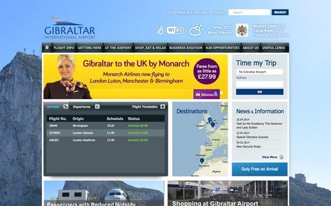 Screenshot of Home Page gibraltarairport.gi - Gibraltar Airport - captured Oct. 2, 2014