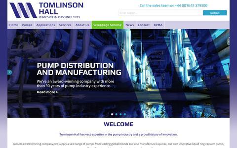 Screenshot of Home Page tomlinson-hall.co.uk - Depa Pumps, Alfa Laval Pumps, Alldos, Liquivac from Tomlinson Hall - Tomlinson Hall - captured Oct. 20, 2018
