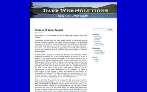 Screenshot of Blog darrwebsolutions.com - darrwebsolutions.com - captured Sept. 30, 2014