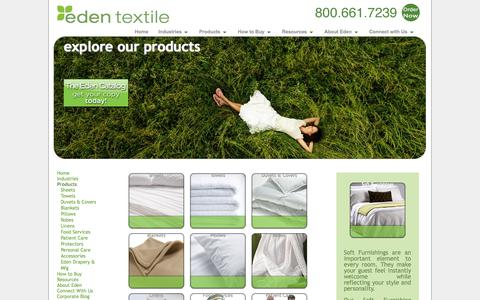 Screenshot of Products Page edentextile.com - Textile Products| Sheets, Towels, Linens, Beds & More | Eden Textile - captured Oct. 2, 2014