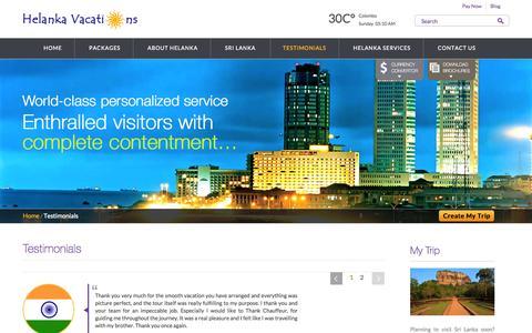 Screenshot of Testimonials Page helankavacations.com - Helanka Vacations | Testimonials from customers - captured Sept. 29, 2014