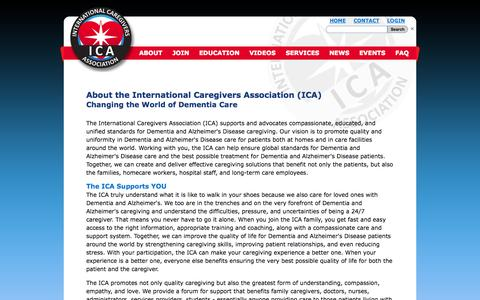 Screenshot of About Page internationalcaregiversassociation.com - International Caregivers Association | Dementia | Alzheimer's Disease - captured Oct. 10, 2014
