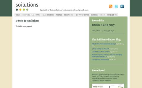 Screenshot of Terms Page soilutions.co.uk - Terms & conditions - captured Oct. 9, 2014