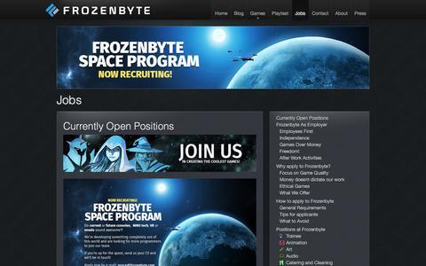 Screenshot of Jobs Page frozenbyte.com - Jobs | Frozenbyte - captured Oct. 14, 2017