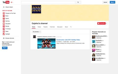 Screenshot of YouTube Page youtube.com - CojoInc's channel  - YouTube - captured Oct. 22, 2014
