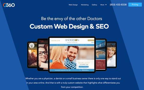 Screenshot of Services Page o360.com - Custom Website Design for Dentists and Physicians - captured Nov. 26, 2019
