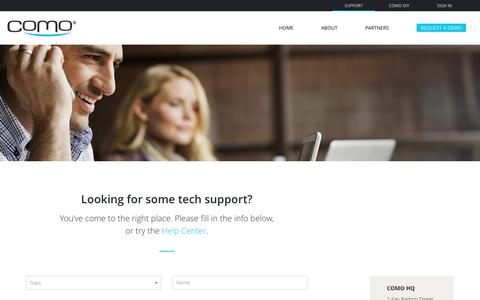 Screenshot of Support Page como.com - Looking for some tech support? - Como - captured Dec. 15, 2016