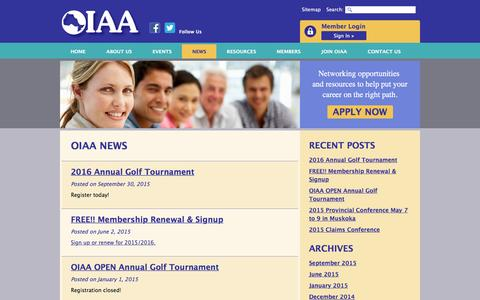 Screenshot of Press Page oiaa.com - News Feed | Events | OIAA - captured April 17, 2016