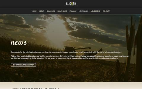 Screenshot of Press Page al-corn.com - Al-Corn, Clean Fuel: News, Weather, Affiliated Links - captured Jan. 21, 2016