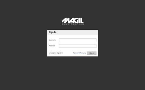Screenshot of Login Page magil.com - Login • Magil Construction Corporation - captured Oct. 3, 2014
