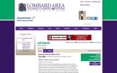 Screenshot of Jobs Page lombardchamber.com - Job Search - PublicLayout - Lombard Area Chamber of Commerce and Industry, IL - captured Sept. 30, 2018
