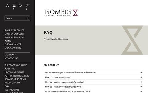 Screenshot of FAQ Page isomers.ca - FAQ - Isomers Laboratories Inc - captured Dec. 19, 2018