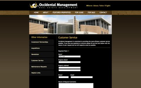 Screenshot of Support Page occmgmt.com - Customer Service - Wichita Commercial Real Estate - Commercial Property Wichita Kansas - captured Nov. 17, 2015