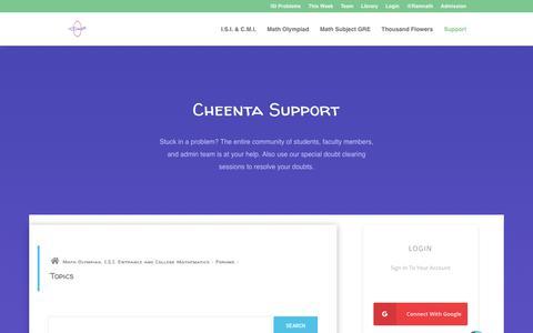 Screenshot of Support Page cheenta.com - Support - Cheenta - captured Dec. 14, 2018