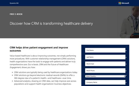 Screenshot of Landing Page microsoft.com - CRM and the future of Healthcare Engagement - captured May 27, 2017