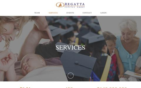 Screenshot of Services Page regattainvest.com - Services | REGATTA CAPITAL GROUP - captured Feb. 18, 2016