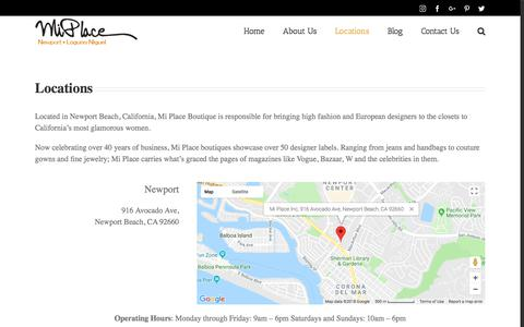 Screenshot of Locations Page miplaceboutique.com - Locations - Mi Place - captured July 8, 2018