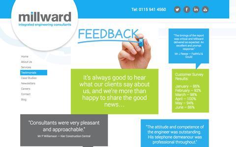 Screenshot of Testimonials Page millward.co.uk - Testimonials - captured Oct. 7, 2014