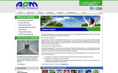 Screenshot of Privacy Page aom.sg - Privacy Policy - Air & Odor Management Pte. Ltd. - captured Oct. 4, 2014
