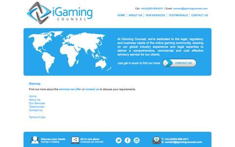 Screenshot of Site Map Page igamingcounsel.com - Sitemap | iGaming Counsel - captured Sept. 30, 2014