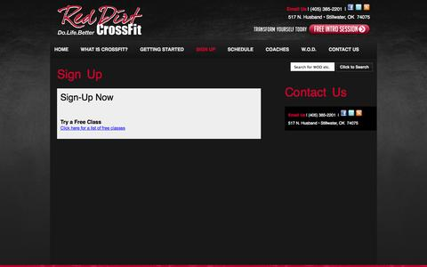 Screenshot of Signup Page reddirtcrossfit.com - Sign Up | Red Dirt CrossFit - captured Oct. 26, 2014
