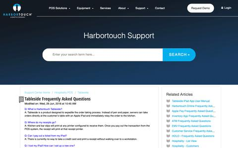 Screenshot of FAQ Page harbortouch.com - Tableside Frequently Asked Questions : Harbortouch Support Center - captured Oct. 9, 2018