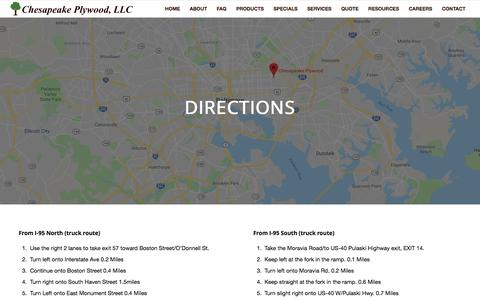 Screenshot of Maps & Directions Page chesapeakeplywood.com - Directions - captured July 17, 2018