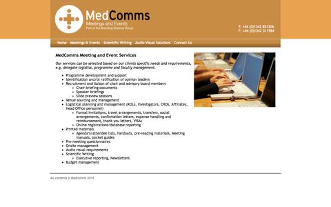 Screenshot of Services Page medcomms.co.uk - Medcomms Workshops - captured Oct. 27, 2014