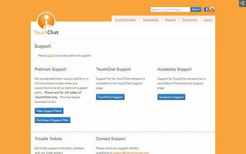 Screenshot of Support Page touchchatapp.com - Support - TouchChat - Communication Apps for iPad, iPhone, and iPod Touch - captured Oct. 24, 2018