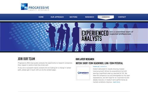 Screenshot of Jobs Page progressive-research.com - Progressive Research - Careers - captured Oct. 3, 2014