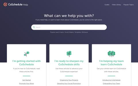Screenshot of Support Page Demo Page coschedule.com - CoSchedule - captured Sept. 9, 2018