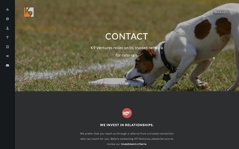 Screenshot of Contact Page k9ventures.com - Contact - K9 Ventures - captured Sept. 19, 2014