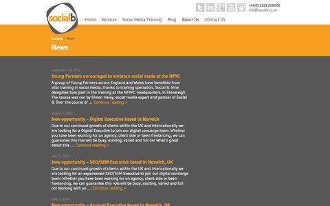 Screenshot of Press Page socialb.co.uk - News | Socialb - captured Sept. 26, 2014