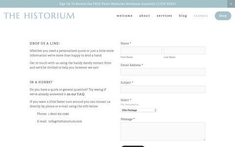 Screenshot of Contact Page thehistorium.com - Contact — The Historium - captured Dec. 16, 2016