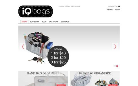 Screenshot of Home Page iqbags.co.nz - Handbag Organiser | Baby Bag Organiser | Nappy Bag | iQ BagsIQ Bags | Handbag and Baby Bag Organisers - captured Oct. 6, 2014