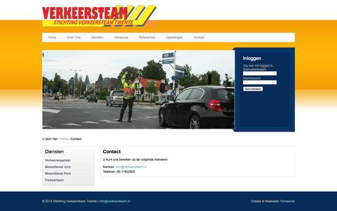 Screenshot of Contact Page verkeersteam.nl - Verkeersteam Twente - captured Oct. 7, 2014