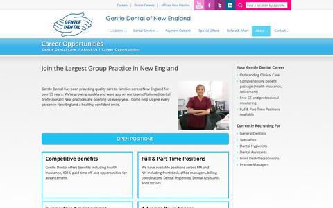 Screenshot of Jobs Page gentledental.com - Work at A Dental Multispecialty Practice | Gentle Dental of New England - captured Sept. 27, 2018