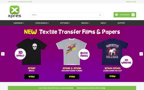 Screenshot of Home Page xpres.co.uk - Textile Transfers, Sublimation, Sign Making and Heat Presses | Xpres - captured Nov. 17, 2016