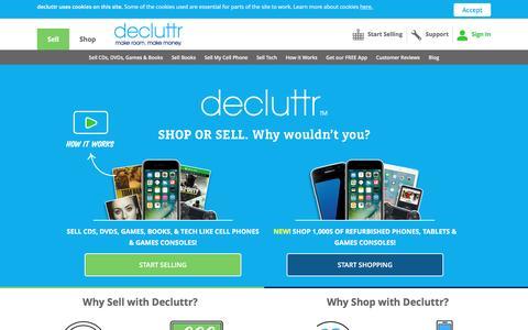 Screenshot of Home Page decluttr.com - Decluttr| Sell My Stuff | Sell Stuff Online | Decluttr - captured April 16, 2017