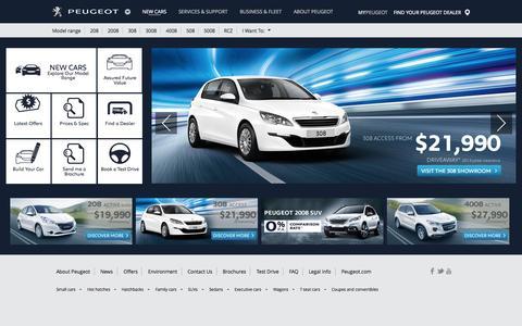 Screenshot of Home Page peugeot.com.au - Peugeot Australia | New Cars and SUVs - captured Sept. 11, 2015